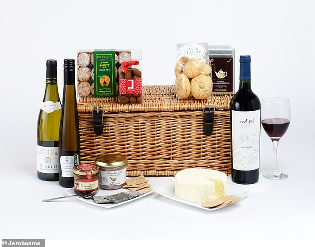 The hamper includes three bottles of their wine, as well as cheese, crackers and grapes, finished off with sweets such as Macaroons and Sally Clarke's Mince Pies