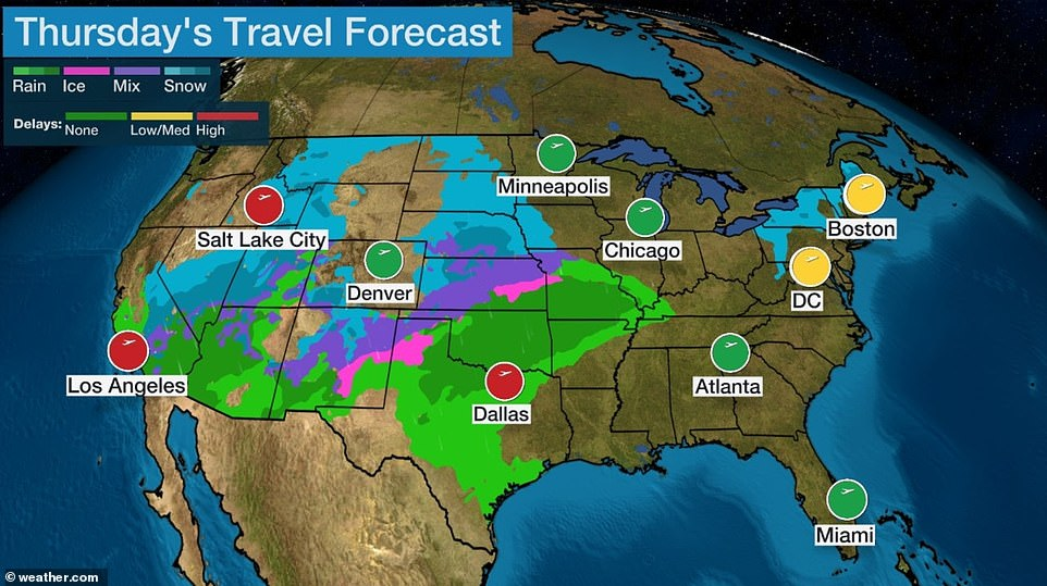 Thanksgiving Day is usually a light travel day for the airlines, but delays are still expected in the West as well as Texas
