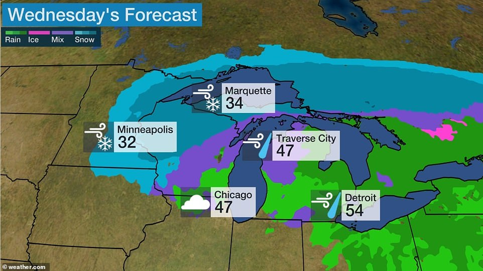 The first storm moved into the Plains late Tuesday, bringing high wind and more snow to Minnesota, Wisconsin and upper Michigan. Minneapolis could see more than six inches of snow into Wednesday, along with wind gusts of 35mph