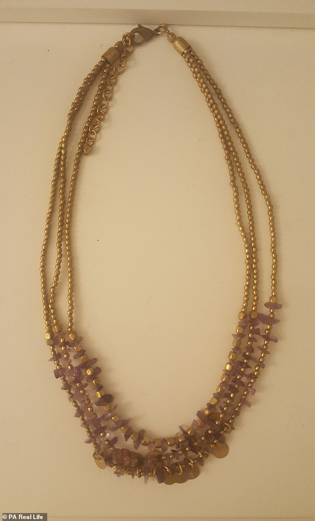 Anastasia has also been given a necklace (pictured), a leather rucksack, leather shoes and a bracelet from wealthy older men