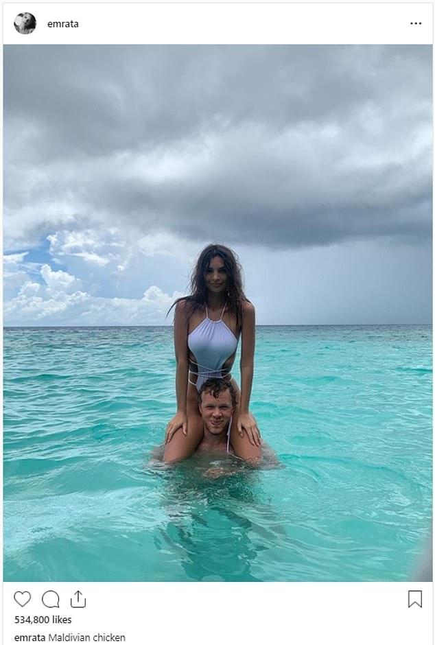 Love of her life: The actress has been enjoying the Maldives with her husband, Sebastian Bear-McClard