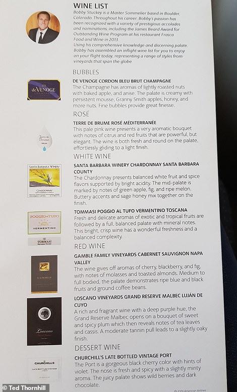 The transcontinental wine list