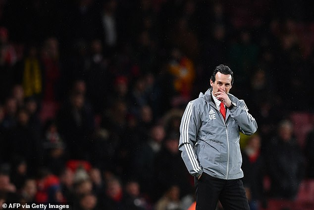 Unai Emery looks dejected after losing 2-1 at home to Eintracht Frankfurt on Thursday evening