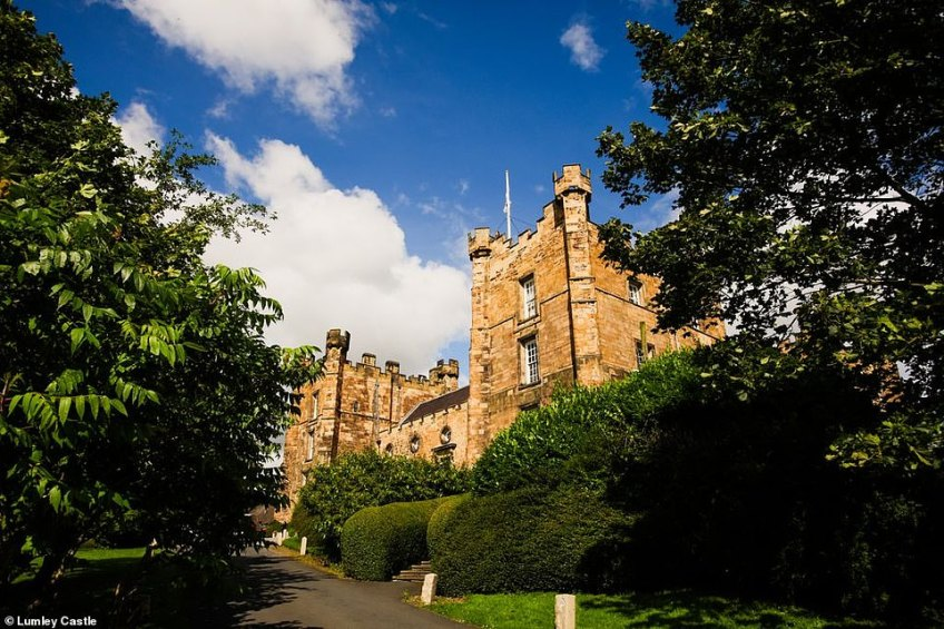 Lumley Castle, pictured, in County Durham, which now operates as a hotel.It has previously been owned by the Bishop of Durham and Durham University