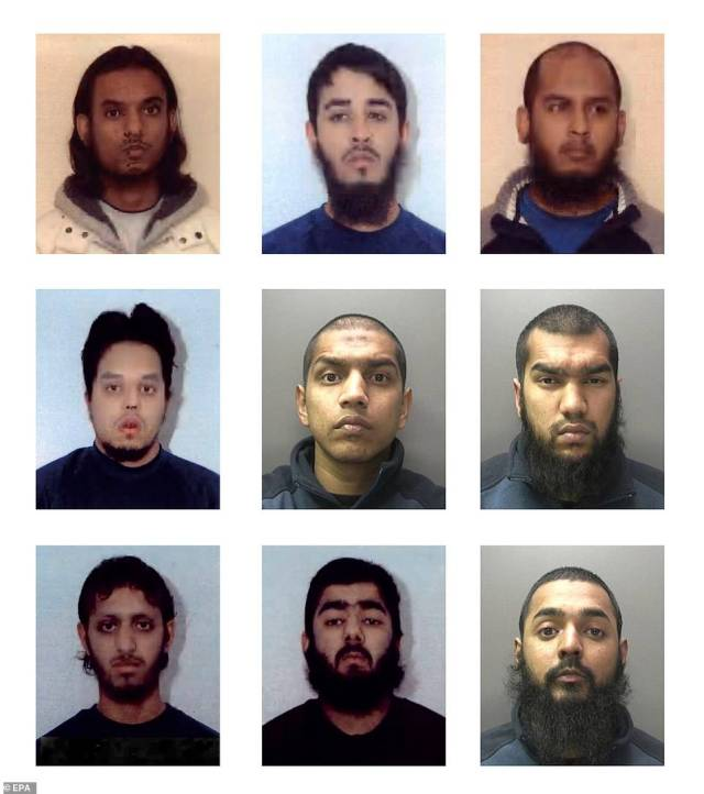 The members of Usman Khan's Al Qaeda-inspired gang who plotted to blow up the London Stock Exchange and kill Boris Johnson. From left to right: Mohammed Moksudur Chowdhury, Mohammed Shahjahan, Shah Mohammed Rahman. Middle row: Mohibur Rahman, Gurukanth Desai, Abdul Malik Miah. Bottom row: Nazam Hussain, Usman Khan, Omar Sharif Latif