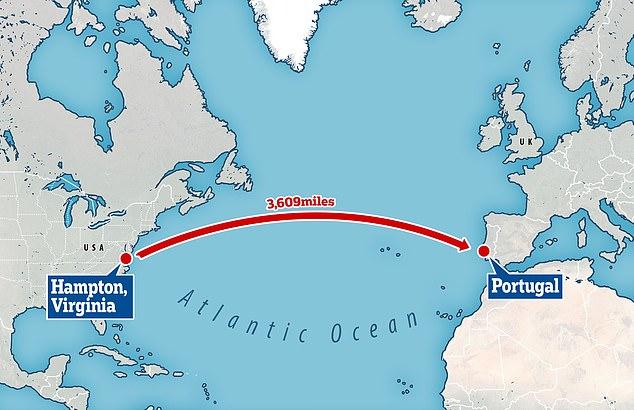 The ship belonging to Australian YouTubers Mr Whitelum and Ms Carausu, left from Hampton, Virginia