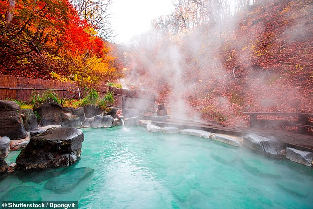 The secret is to step right into the bath so that the water is up to your neck, then sit very still and don't make ripples. Pictured is a hot spring in Yamagata