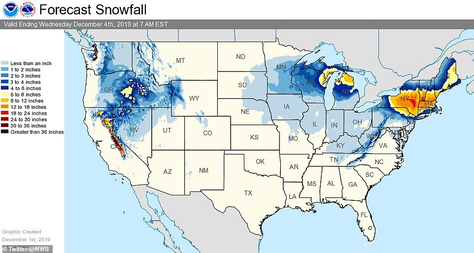 The National Weather Service shared this snowfall forecast map revealing heavy snowfall will impact Western states, the Upper Midwest and the Northeast, with some areas seeing between four to six inches of snow, through Wednesday