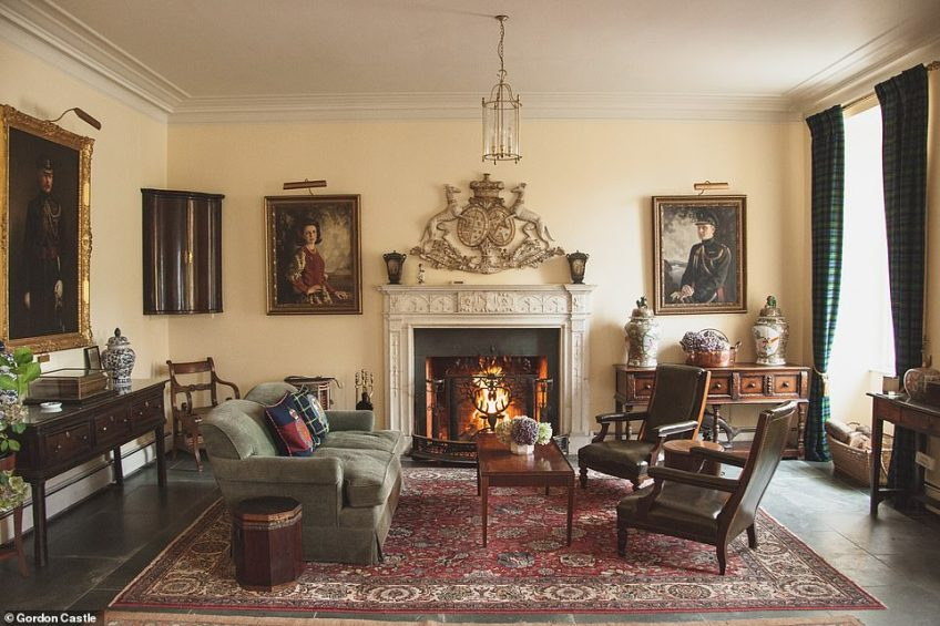 According to the listing, Gordon Castle blends 'contemporary comforts with authentic Scottish charm' and boasts a grand drawing room, study, billiard room and two large reception rooms