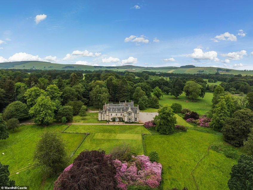 Wardhill Castle, pictured, in Aberdeenshire, which is surrounded by the stunning Bennachie Hills
