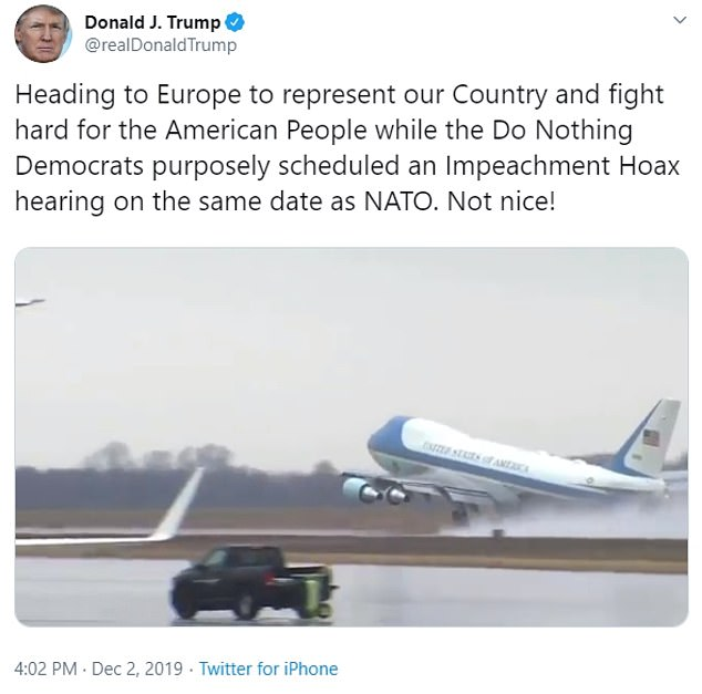 Mr Trump tweeted a video of take-off and referred to the House impeachment report on him which will be unveiled in the US today behind closed doors for key politicians