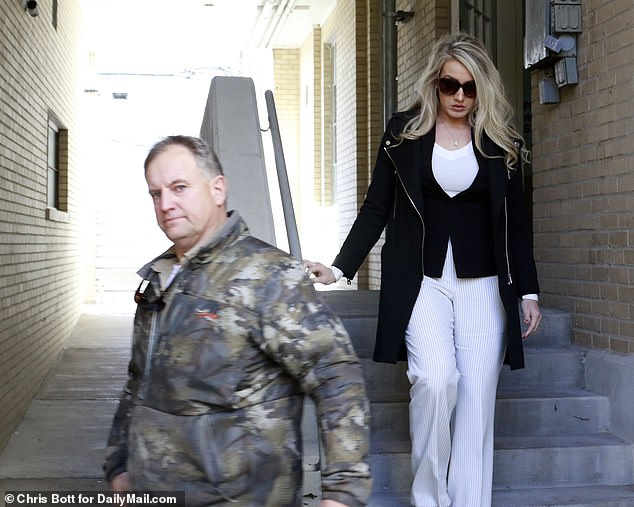 Roberts and her father (pictured) left the courtroom via the disabled entrance without speaking to reporters