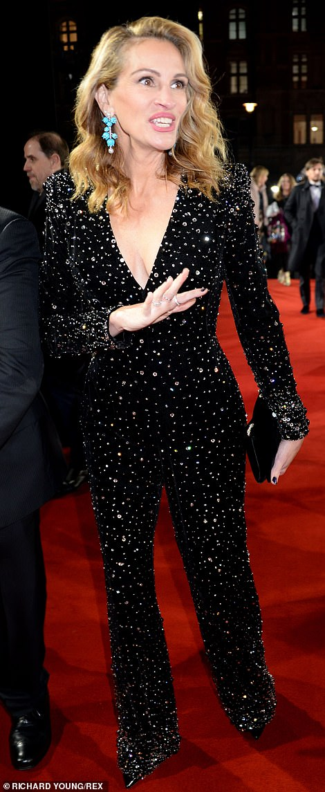 Sensational: Julia Roberts, 50, complemented Cate's stunning look with an equally fashion forward black jumpsuit with crystal embellishment