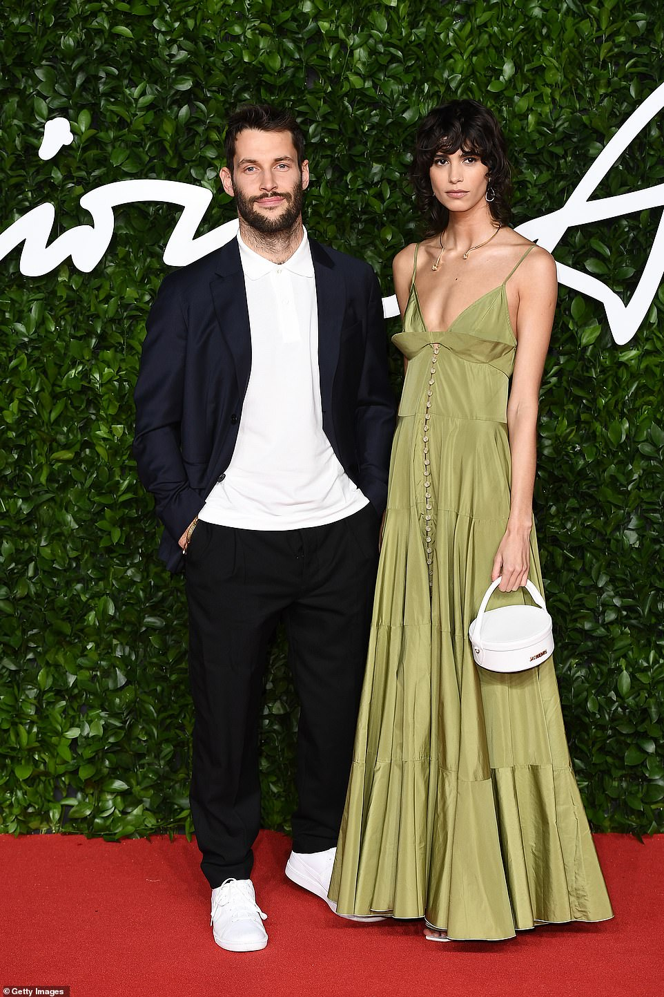 Fashionable duo: Simon Porte Jacquemus and Mica Arganaraz posed together on the carpet