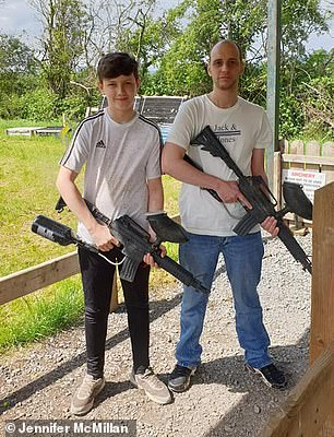 Jennifer already has a son, Jay, from a previous relationship, who was just four at the time the couple met, and Jonny soon became a father figure to him.The pair pictured together at a firing range for Jay's 14th birthday