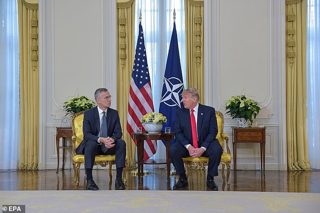 Contentious: Donald Trump lashed out at Emmanuel Macron at his first meeting at the NATO 70th anniversary summit in London, when he spoke with reporters before a private session  with NATO Secretary General Jens Stoltenberg