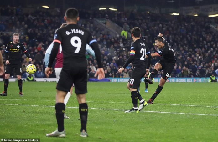 Rodri then hit the third goal of the night as the midfielder smashed a brilliant volley in from the edge of the Burnley box