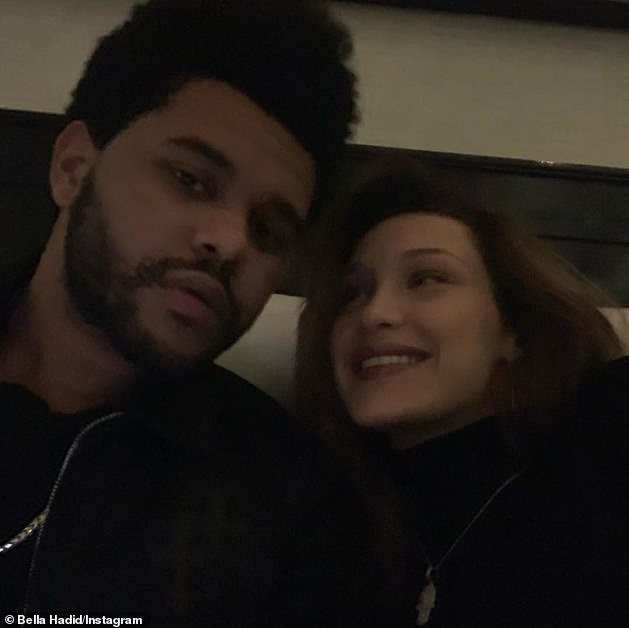 'They seem to be on good terms': Hadid has been single since ending her romantic relationship with three-time Grammy winner The Weeknd (L) in August 2019 (pictured in 2019)