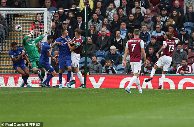 Jeff Hendrick sneaks in at the back post to score Burnley's winner against Everton in October