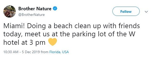 The animal rights activist was in Miami doing a beach clean up and had stopped at the La Sandwhicherie on early Saturday morning