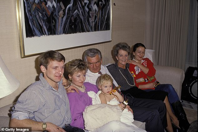The Hawke family is pictured during the 1987 election campaign. Daughter Sue is cradling her daughter Sophie, Mr Hawke's wife Hazel is next to him and daughter Rosslyn is next to her