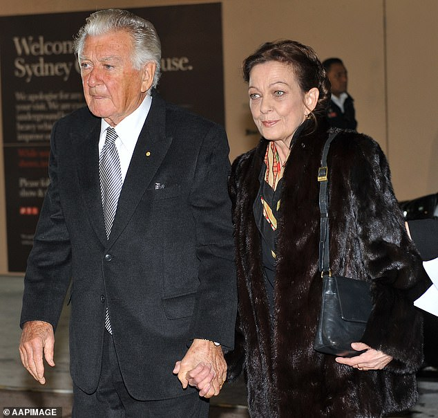 Bob Hawke's wayward daughter Rosslyn Dillon was demanding a $2.5million house in Sydney kitted out with $4,000 worth of towels in her lawsuit against his estate. Mr Hawke and Ms Dillon are pictured at the memorial service for Hazel Hawke, his former wife and her mother