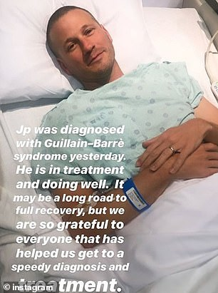 The rare disorder sees body's immune system attacks its peripheral nervous system and causes paralysis. Pictured: Rosenbaum in the hospital, when he announced the diagnosis