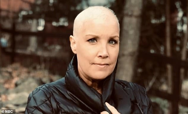 Speaking on Today, NBC correspondent Kristen Dahlgren revealed that a dent in her breast led to her diagnosis with stage 2 cancer. Pictured: Dahlgren after chemo made her lose her hair