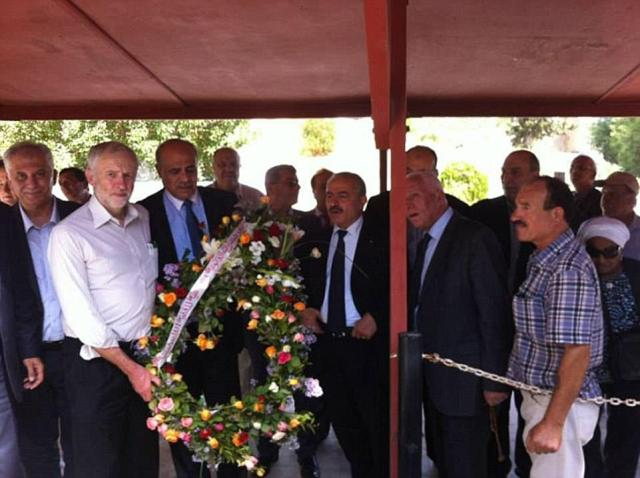 Jeremy Corbyn can be seen in October 2014, attending a wreath-laying ceremony at the grave of one of the 1976 Munich massacre terrorists