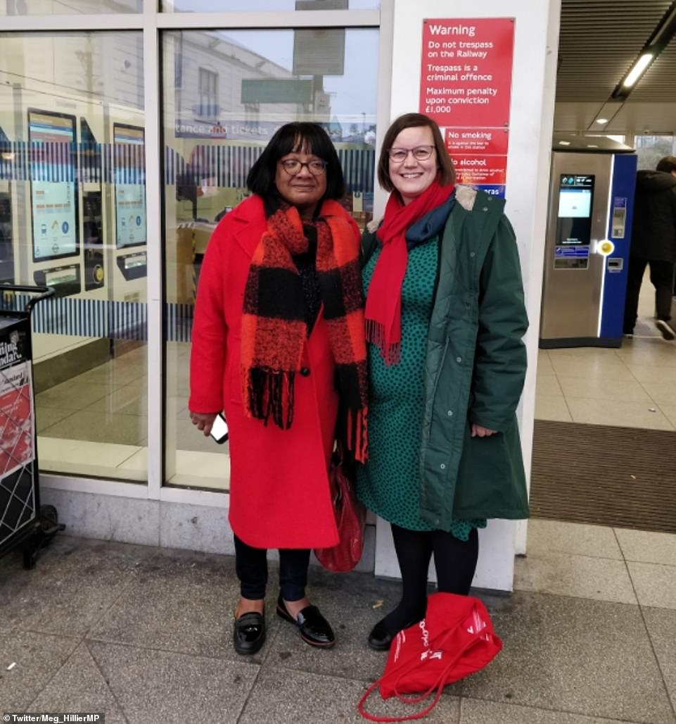 Labour's Diane Abbott started off on the wrong foot today - as she appeared to go out campaigning with odd shoes on the wrong feet. At the end of a long and gruelling winter election campaign she turned out to support Labour colleague Meg Hillier in her neighbouring East London constituency of Hackney South. But Twitter users quickly spotted something was up when Ms Hillier posted a picture of them online. Ms Abbott appeared to be wearing two left shoes