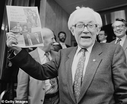 Michael Foot with his disastrous 1983 Labour manifesto - known as the 'longest suicide note in history'