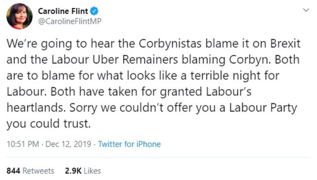 Labour MP candidate Caroline Flint said it was a 'terrible night' for the party as she said Mr Corbyn and Brexit were to blame