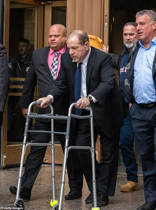 The film producer Harvey (pictured outside New York court)allegedly raped a woman in a New York hotel room in 2013