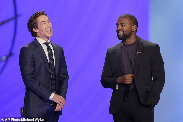 Considered taking their act on a national tour: Kanye (R) and Joel (L) previously collaborated on November 17 when they addressed his packed 16,800-seat, non-denominational Christian megachurch together