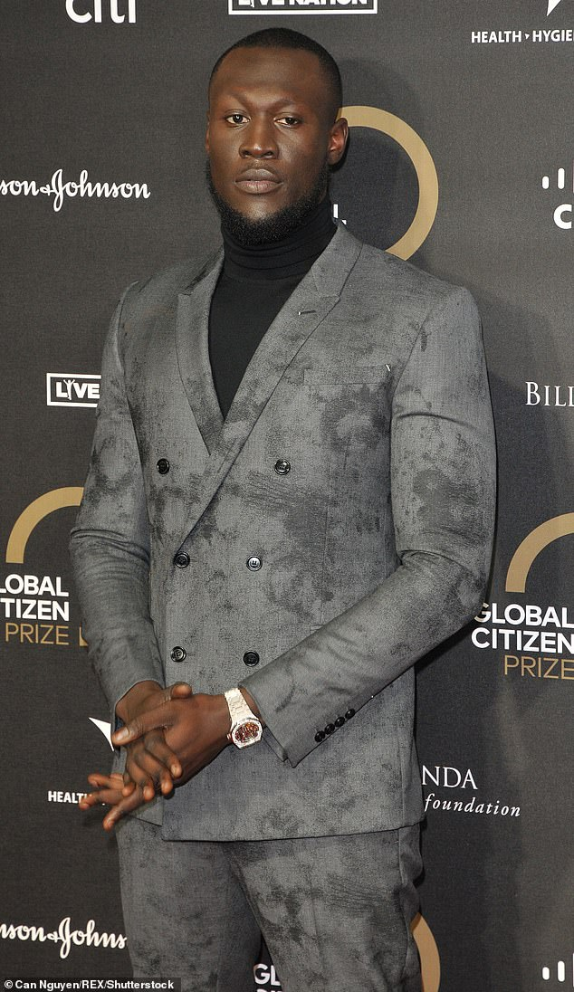 'Peace': In Lessons, which appears on Stormzy's new album, Heavy Is the Head, he referred to 'making dirt' and 'making' funky movements' (pictured last month)