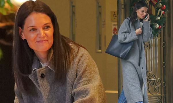 Katie Holmes steps out in a long grey coat before wrapping presents