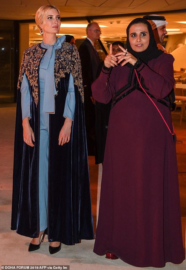 Ivanka pictured alongside Qatar Museums chairperson Sheikha al Mayassa bint Hamad al-Thani (R) at the National Museum of Qatar during the Doha Forum in the Qatari capital