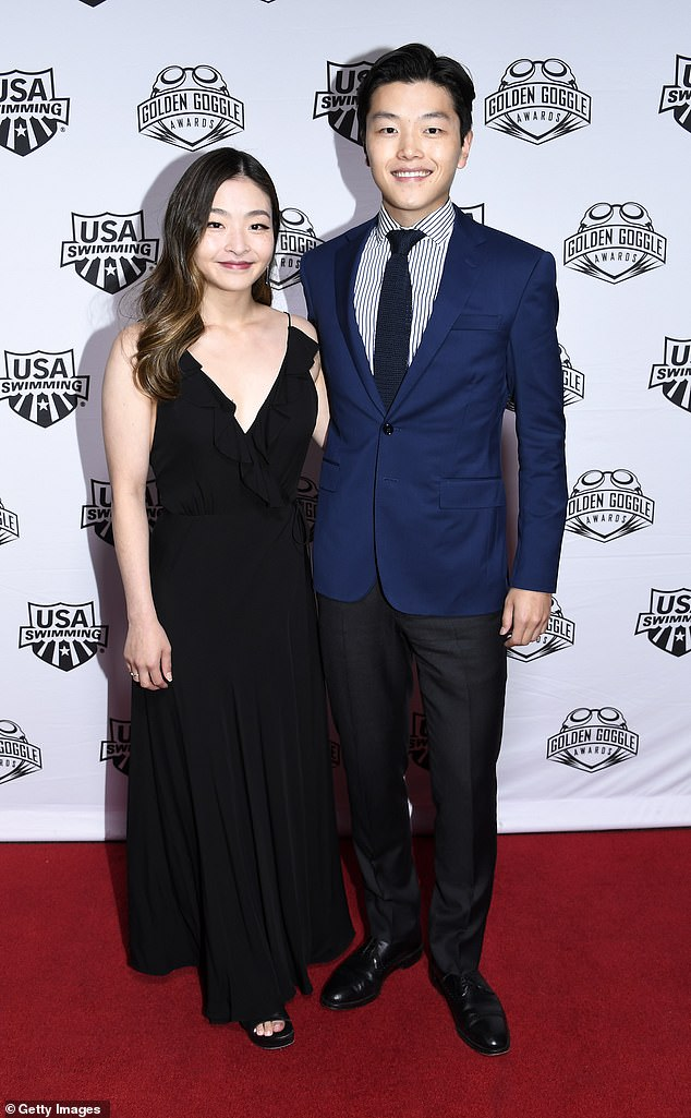 Olympic ice dancers Maia Shibutani and Alex Shibutani pose during Golden Goggle Awards on November 24 this year in Los Angeles. This week Ms Shibutani shared a picture from a hospital bed as she announced the news she'd undergone surgery to remove a potentially cancerous tumor from her kidney