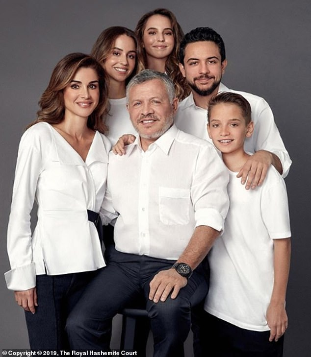 Queen Rania of Jordan alongside her husband King Abdullah II and their four children, Crown Prince Hussein, 26, Princess Iman, 23, Princess Salma, 19 and Prince Hashem, 15