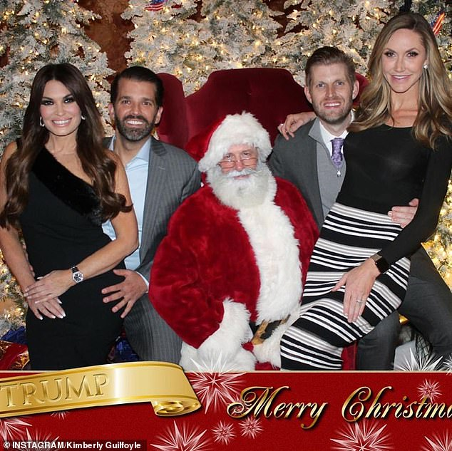 The Trump family kicked off the holiday season with several photos with Santa Claus. Eric and Lara Trump (right) are pictured with Donald Trump Jr and his girlfriend, Kimberly Guilfoyle (both left)
