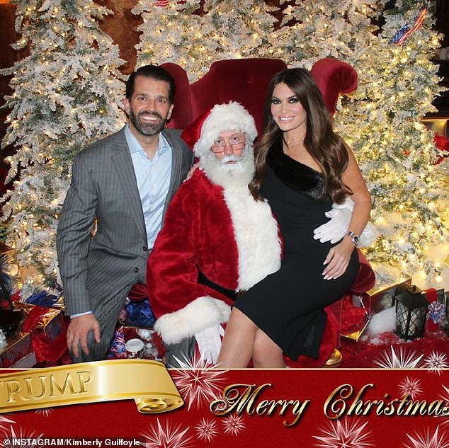 'So nice celebrating with the hard working and great people who make up TrumpOrg! I hope everyone has a very merry Christmas and blessed New Year!' Guilfoyle (right) wrote in the caption of two photos