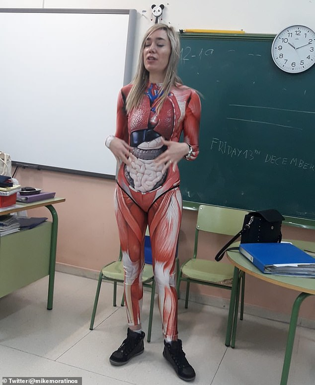 It visually shows exactly where each organ is situated in the body to help her students learn, The Mirror reports