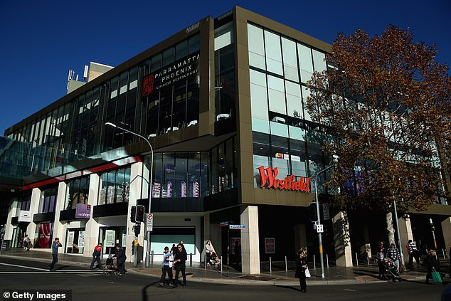 Westfield Parramatta (pictured) had promoted the balloon drop on social media as part of its '33 hour non-stop shop', kicking off at 9am on Monday and ending at 6pm on Christmas Eve on Tuesday
