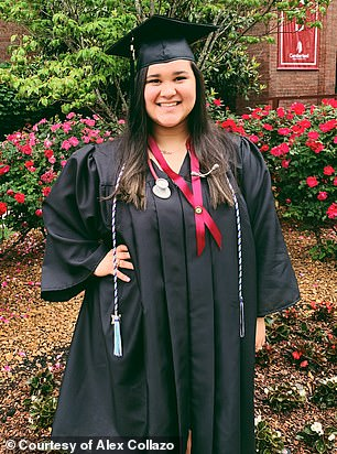 Pennington was admitted it Sarah Cannon Cancer Institute two weeks ago, where he met nurse Collazo. Pictured: Collazo graduating from nursing school