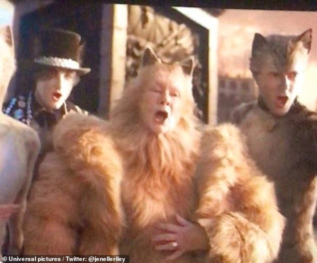 Not good: The newly-released movie version of Cats suffered another embarrassing moment when fans noticed Judi Dench's hand - complete with wedding ring - was clearly visible