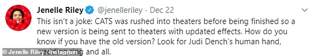 This is embarrassing: Jenelle Riley picked up on the error and said a new version of the film is being sent to movie theaters