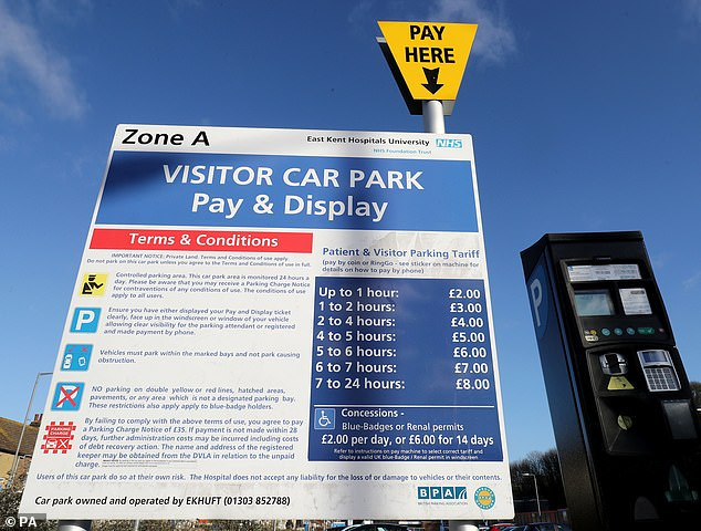 Blue badge holders and patients who regularly attend appointments for long-term conditions will get free hospital parking under new plans for NHS trusts across England. File image used