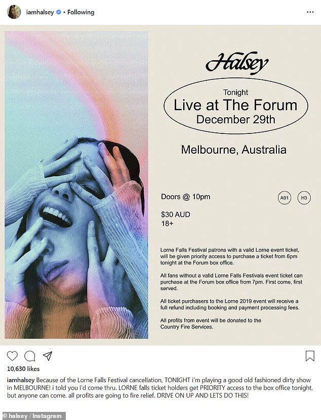 US singer Halsey, 25, announced a last-minute Melbourne show for December 29 on Sunday after Lorne Falls Festival was cancelled due to extreme weather