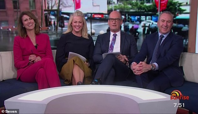 Big job ahead: Karl and Allison will spend this year trying to narrow the TV ratings margin between Today and their rivals at Sunrise (Pictured L-R: Today's Natalie BarrSamantha Armytage, David Koch andMark Beretta)