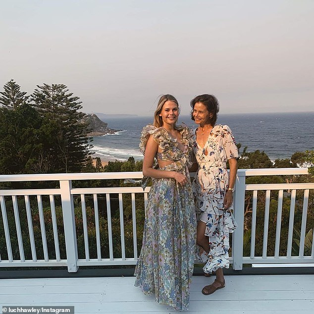 Twinning! Lucia appeared to take a fashion tips from her mother, as she also wore a floral frock